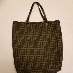Authentic FENDI Zucca Hand Tote Bag Brown Canvas